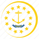 american, circle, circular, flag, island, rhode, state icon