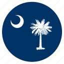 american, carolina, circle, circular, flag, south, state icon