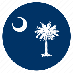 american, carolina, circle, circular, flag, south, state icon