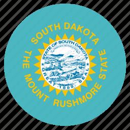 american, circle, circular, dakota, flag, south, state icon