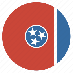 american, circle, circular, flag, state, tennessee icon