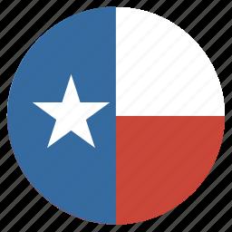 american, circle, circular, flag, state, texas icon