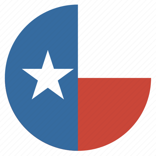 american, circle, circular, flag, state, texas icon