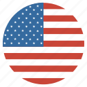 america, american, circular, flag, united, us, usa icon