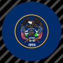 american, circle, circular, flag, state, utah icon