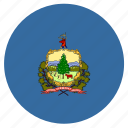american, circle, circular, flag, state, vermont icon