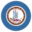 american, circle, circular, flag, state, virginia icon