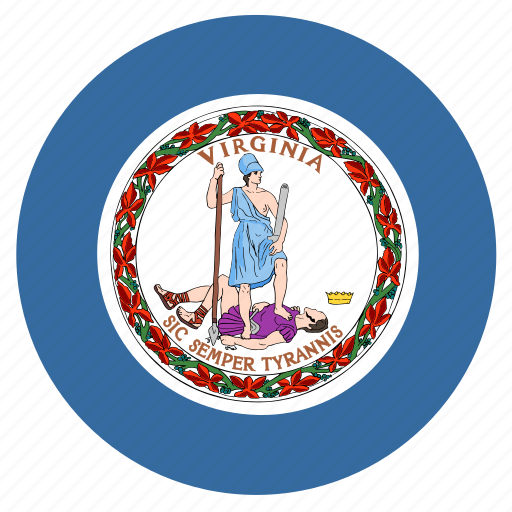 american, circle, circular, flag, state, virginia icon