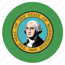 american, circle, circular, flag, state, washington icon