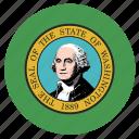american, circle, circular, flag, state, washington icon