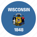 american, circle, circular, flag, state, wisconsin icon