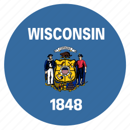american, circle, circular, flag, state, wisconsin icon