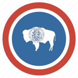 american, circle, circular, flag, state, wyoming icon