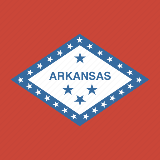 american, arkansas, flag, square, state icon
