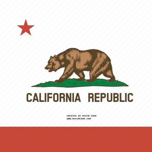 american, california, flag, square, state icon