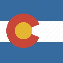 american, colorado, flag, square, state icon