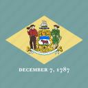 american, delaware, flag, square, state icon