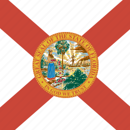 american, flag, florida, square, state icon