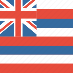american, flag, hawaii, square, state icon