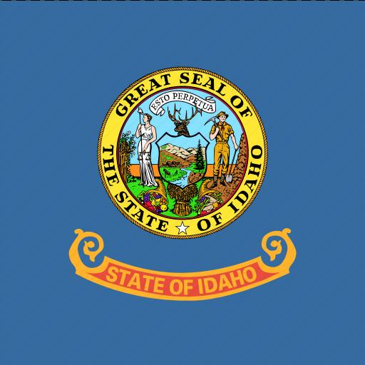 american, flag, idaho, square, state icon