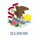 american, flag, illinois, square, state icon