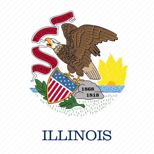 american, flag, illinois, square, state icon