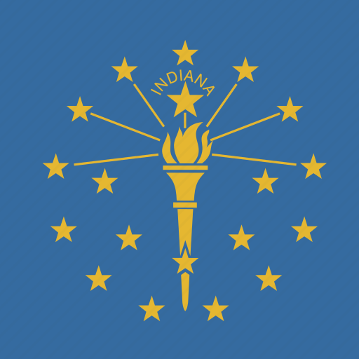 american, flag, indiana, square, state icon