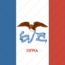 american, flag, iowa, square, state icon