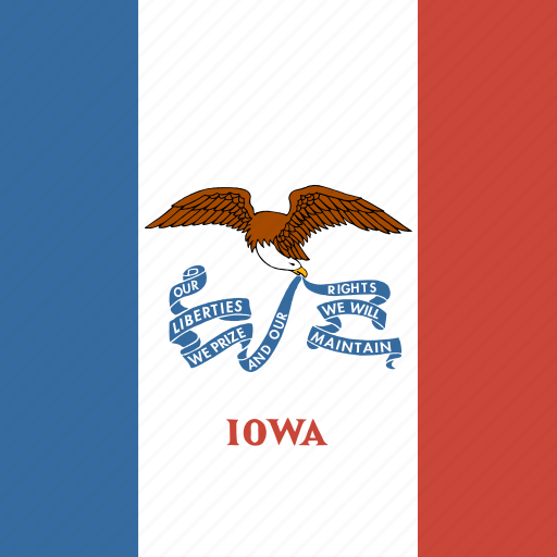 american, flag, iowa, state icon