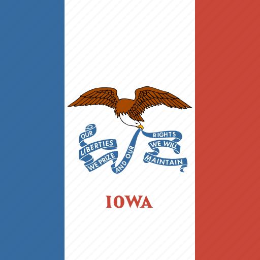 american, flag, iowa, square, state icon