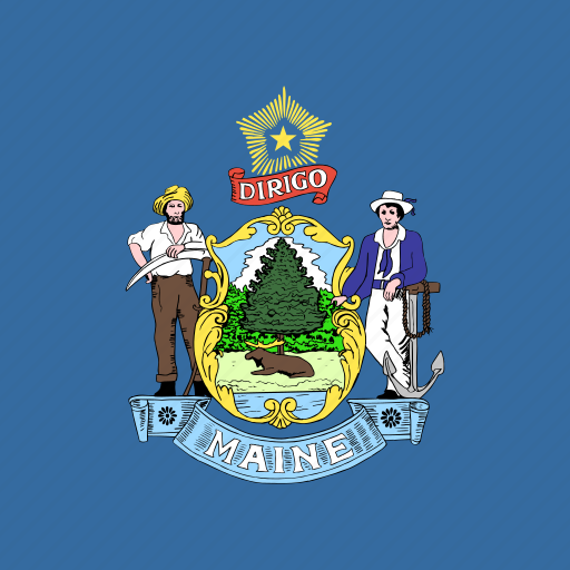 american, flag, maine, square, state icon