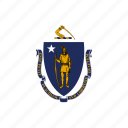 american, flag, massachusetts, square, state icon