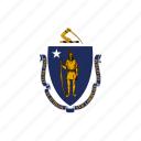 american, flag, massachusetts, square, state icon