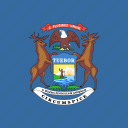 american, flag, michigan, square, state icon