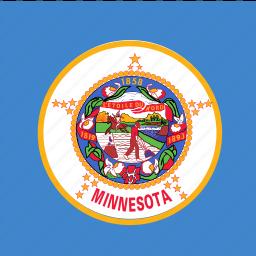 american, flag, minnesota, square, state icon