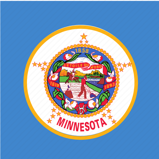 american, flag, minnesota, square, state icon