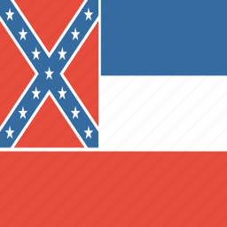 american, flag, mississippi, square, state icon