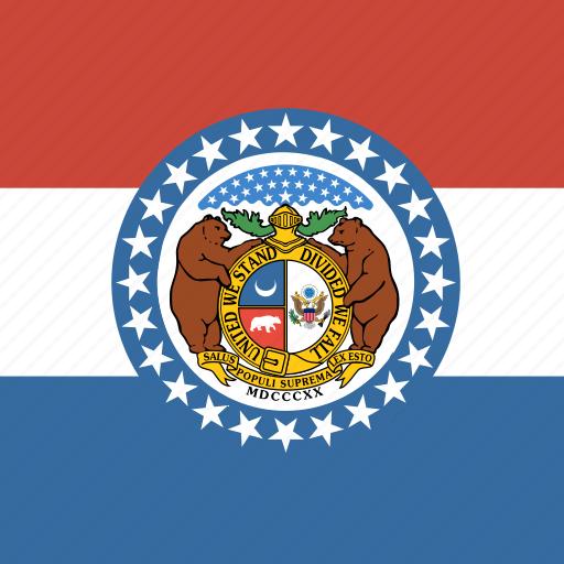 american, flag, missouri, square, state icon