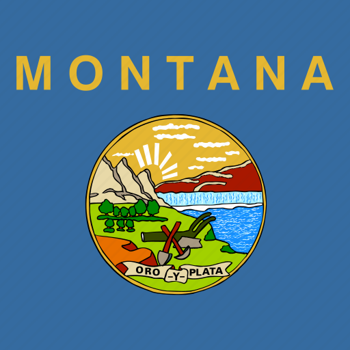 american, flag, montana, square, state icon