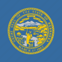 american, flag, nebraska, square, state icon