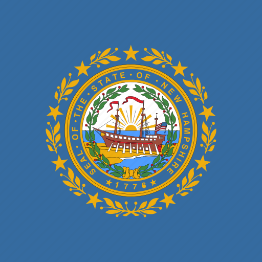 american, flag, hampshire, new, square, state icon