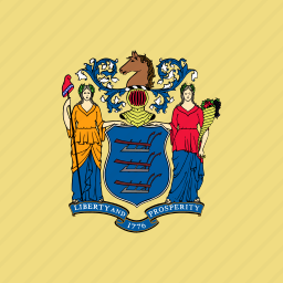 american, flag, jersey, new, square, state icon