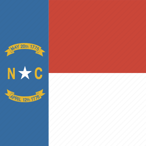 american, carolina, flag, north, north carolina, square, state icon