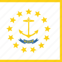 american, flag, island, rhode, square, state icon
