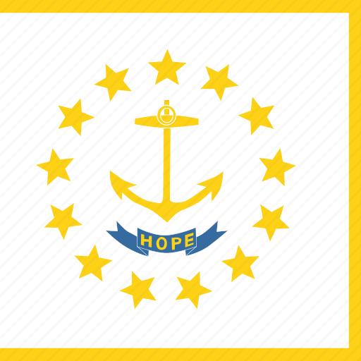 american, flag, island, rhode, square, state icon