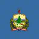 american, flag, square, state, vermont icon
