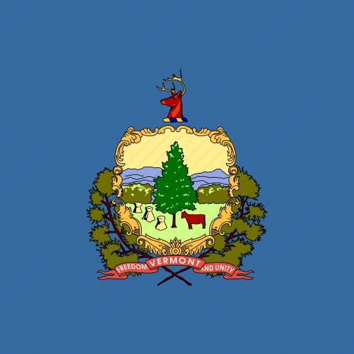 american, flag, square, state, vermont icon