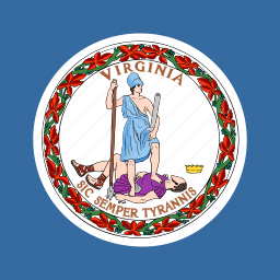 american, flag, square, state, virginia icon
