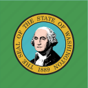 american, flag, square, state, washington icon