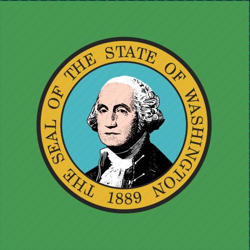 american, flag, square, state, washington icon